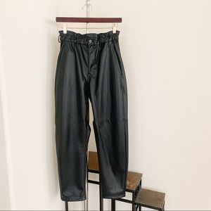 Zara Faux Leather Paper Bag Trousers.
